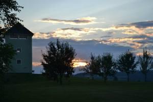 the silo at dusk